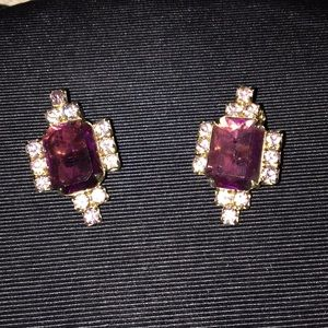 Jewelry - Vintage Purple Rhinestone Clip-on Earrings